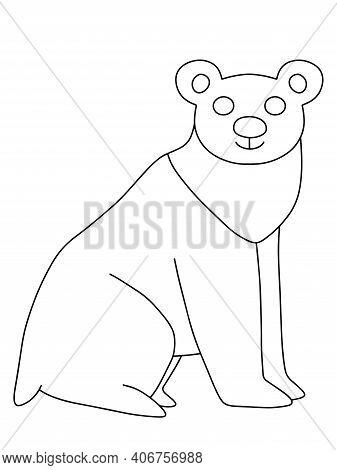 Funny Doodle Hand Drawn Polar Bear Stock Vector Illustration. Simple Black And White Outline Illustr