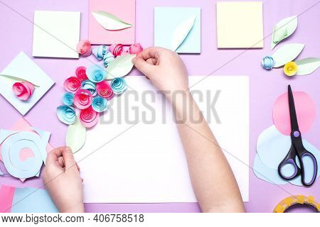 Diy Instruction. Step By Step Guide. The Process Of Making Paper Flowers From Colorful Postcard Stic