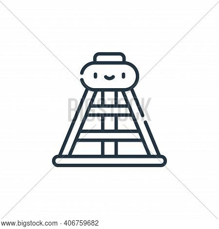 oil derrick icon isolated on white background from desert collection. oil derrick icon thin line out