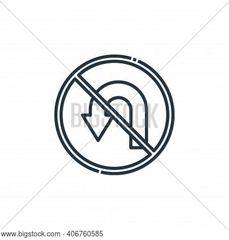no turn icon isolated on white background from signaling collection. no turn icon thin line outline