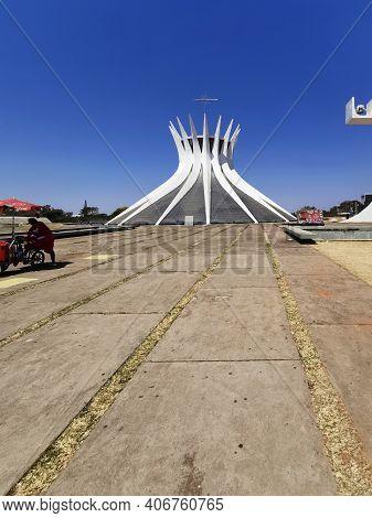 Brasilia, Brazil - September 14, 2019: Vertical View Of Metropolitan Cathedral Of Brasilia.