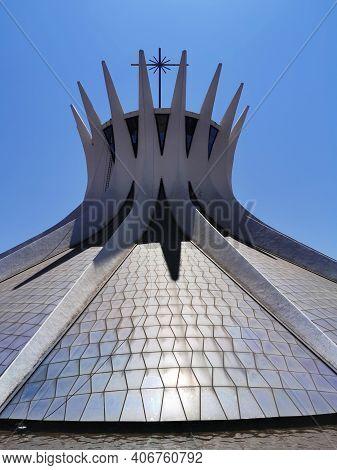Brasilia, Brazil - September 14, 2019: Close View Of Metropolitan Cathedral Of Brasilia