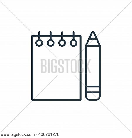 notebook icon isolated on white background from stationery collection. notebook icon thin line outli