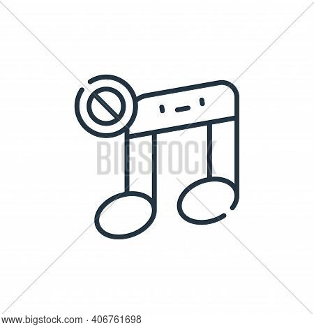 no music icon isolated on white background from ramadan collection. no music icon thin line outline