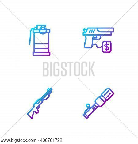 Set Line Anti-tank Hand Grenade, Hunting Gun, Hand Smoke And Buying Pistol. Gradient Color Icons. Ve