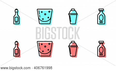 Set Line Cocktail Shaker, Champagne Bottle, Glass Of Rum And Alcohol Drink Rum Icon. Vector