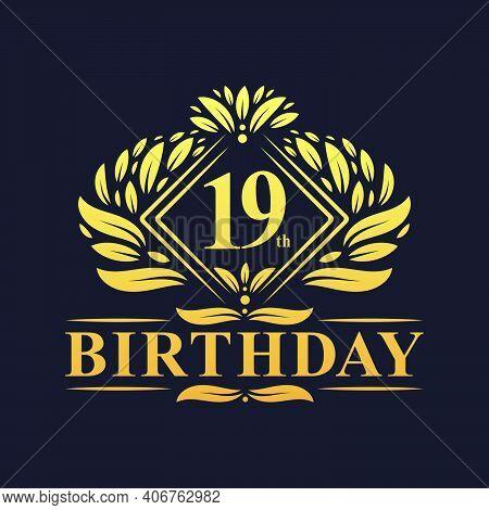 19 Years Birthday Logo, Luxury Golden 19th Birthday Celebration.