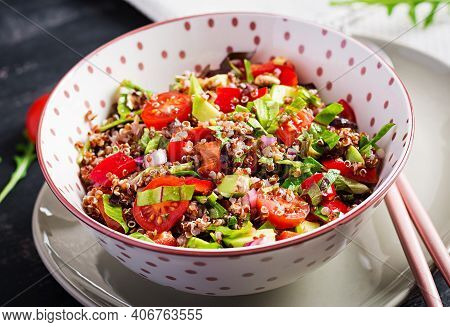 Tabbouleh With Quinoa. Tabbouleh Salad - Traditional Middle Eastern Or Arabic Cuisine. Vegetarian Sa