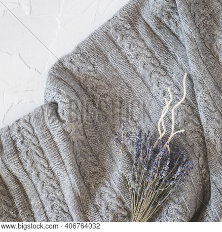 A Cozy Home Background With A Knitted Gray Blanket, A Bouquet Of Lavender And Aroma Sticks. Insomnia