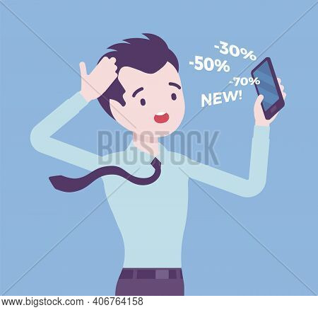 Cold Calling By Telephone For Potential Male Customer. Salesperson Contacting Annoyed Individual, Po