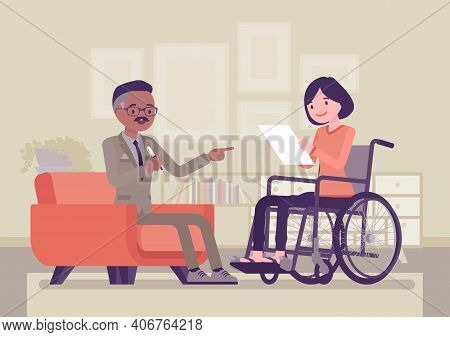 Disability Insurance, Medical Support For Disabled Wheelchair Woman. Sick, Injured Worker Social Hel