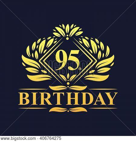 95 Years Birthday Logo, Luxury Golden 95th Birthday Celebration.