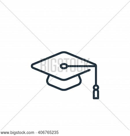 mortarboard icon isolated on white background from life skills collection. mortarboard icon thin lin