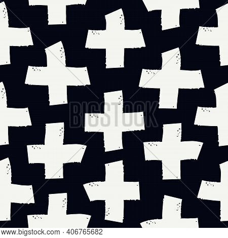 Paint Brush Strokes Seamless Pattern. Freehand Grunge Design Background. Crosses Motif Modern Minima