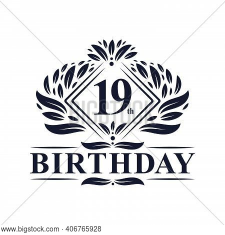 19 Years Birthday Logo, Luxury 19th Birthday Celebration.