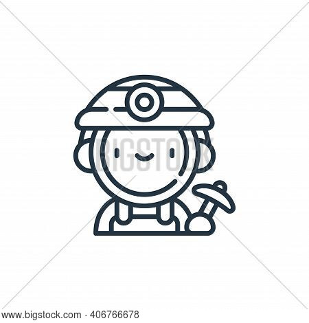 miner icon isolated on white background from labour day collection. miner icon thin line outline lin