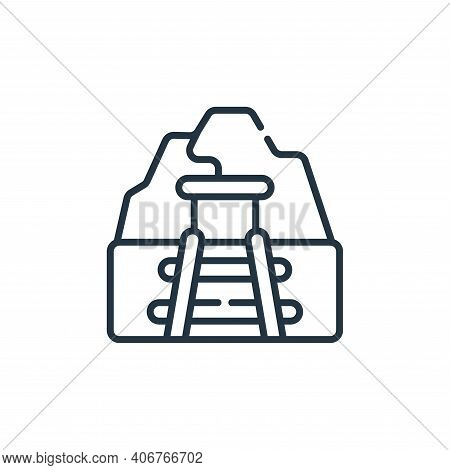 mine icon isolated on white background from desert collection. mine icon thin line outline linear mi