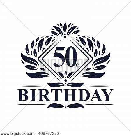 50 Years Birthday Logo, Luxury 50th Birthday Celebration.