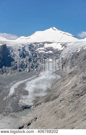 Snowy Grossglockner Summit With Pasterze Glacier From View Point Of Kaiser-franz-josefs-hoehe In Aus