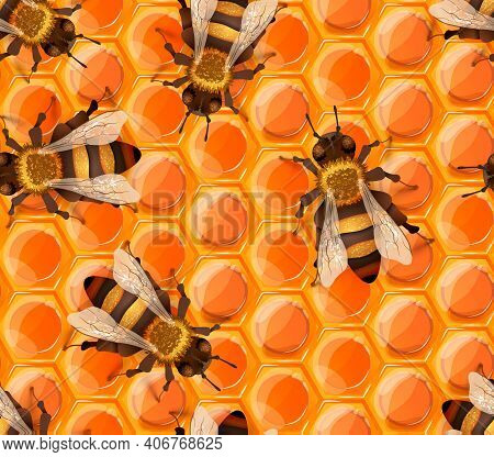 Glossy Sweet Honeycomb Pattern With Lots Of Realistic Detailed Honey Bees, Seamless Pattern