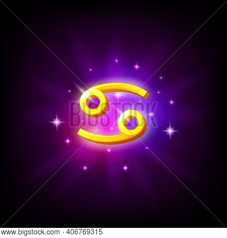 Constellation Cancer Icon In Space Style On Dark Background With Galaxy And Stars. Zodiac Sign Of Wa