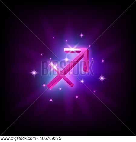 Sagittarius Constellation Icon In Space Style On Dark Background With Galaxy And Stars. Zodiac Sign