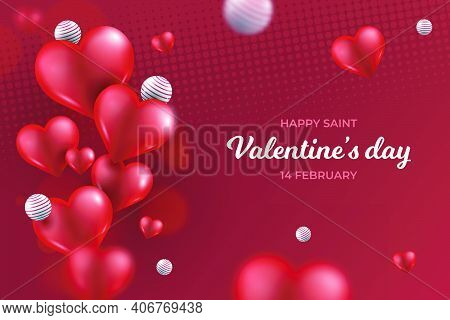 Portrait Background And Illustration Of Red Hearts Card With Written Happy Valentine's Day The 14th