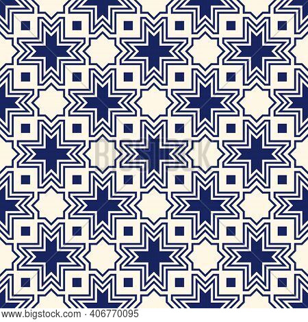 Seamless Surface Design With Arabic Ornament. Moroccan Stars And Crosses Motif. Oriental Traditional