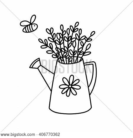 Hand Drawn Outline Watering Can With Willow Branches And Flying Bee. Contour Drawing Easter Gardenin