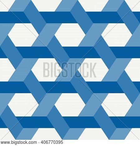 Hexagonal Seamless Pattern. Honeycomb Surface Print. Mosaic Tiles Flooring Background. Wicker, Weave