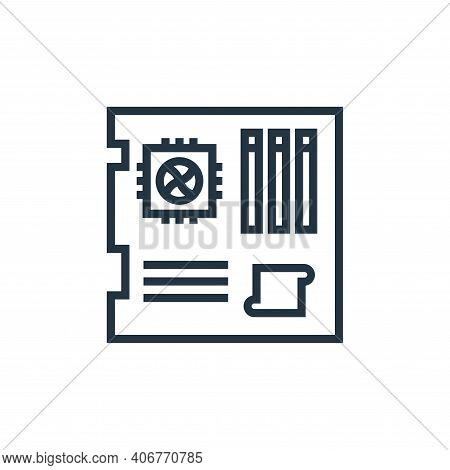 mainboard icon isolated on white background from hardware collection. mainboard icon thin line outli