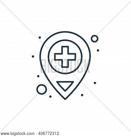 location icon isolated on white background from coronavirus collection. location icon thin line outl