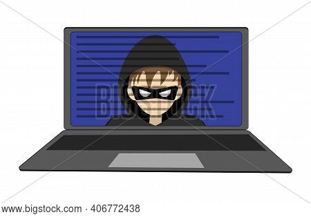 Hacker Inside The Laptop, Cybercrime. The Face Of The Hacker In The Computer. Hacking Someone Elses