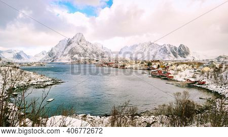 Norwegian fjords and snowy mountains on the horizon