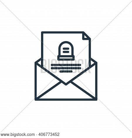 letter icon isolated on white background from funeral collection. letter icon thin line outline line