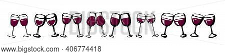 Wine Glasses Set Cheers Couple Love Banner - Collection Of Sketched Doodle Wineglasses And Glass Sil