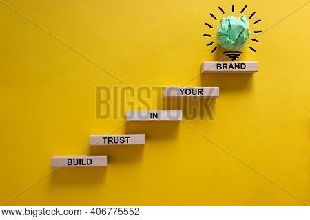 Success Business Process Symbol. Wood Blocks Stacking As Step Stair On Yellow Background, Copy Space