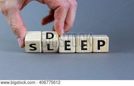 Sleep Deep Symbol. Doctor Turns Wooden Cubes With Words Sleep Deep. Beautiful Grey Background, Copy