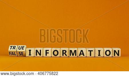 True Or False Information Symbol. Turned Cubes And Changed Words False Information To True Informati