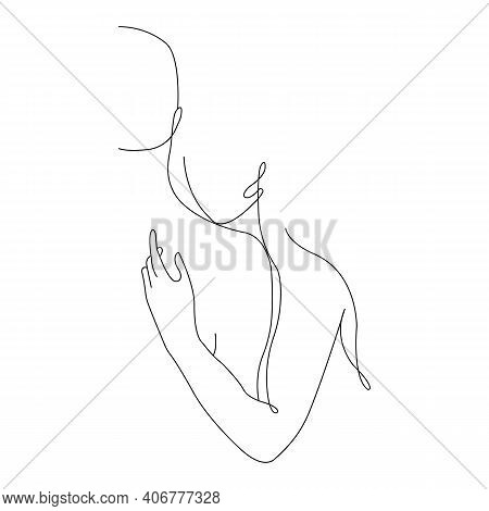 A Man Holds A Girl In An Embrace, Kisses On The Neck, Minimalism Style In One Line. Design For Decor