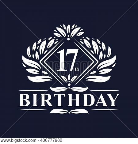 17 Years Birthday Logo, Luxury 17th Birthday Celebration.