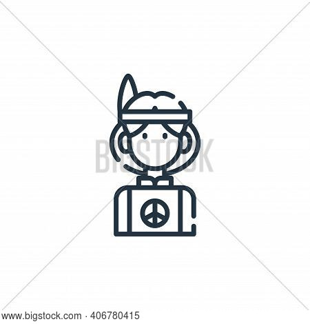 Hippie icon isolated on white background from hippies collection. Hippie icon thin line outline line