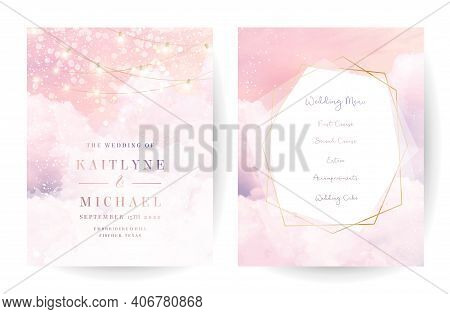 Sugar Cotton Pink Clouds Vector Design Backgrounds. Golden Line Geometric Art. Plane Sky View With S
