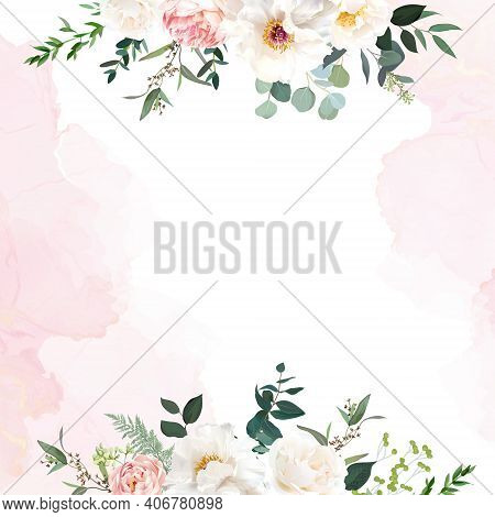 Retro Delicate Wedding Card With Pink Watercolor Texture And Flowers. White Peony, Pink Ranunculus,