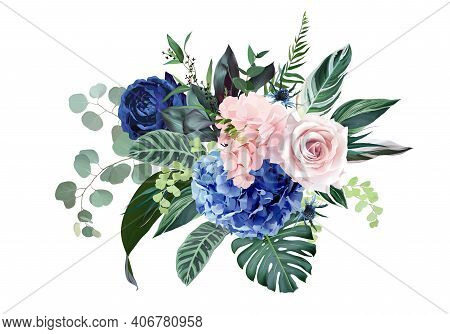 Royal Blue, Navy Garden Rose, Blush Pink Hydrangea Flowers, Thistle, Ranunculus, Eucalyptus, Greener