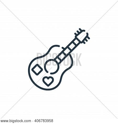 guitar icon isolated on white background from hippies collection. guitar icon thin line outline line