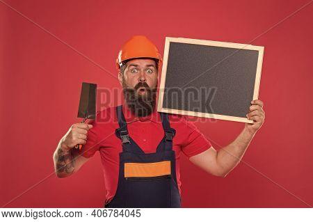 Dreams Come True. Professional Plasterer. Skillful Plasterer. Successful Renovation. Bearded Man Wor