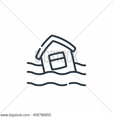 flooded house icon isolated on white background from climate change collection. flooded house icon t