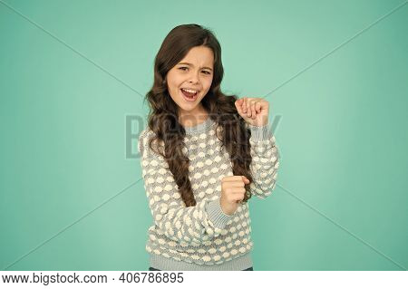 Lets Celebrate. Happy Child Celebrate Blue Background. Small Girl Enjoy Celebrating. Celebrate Birth