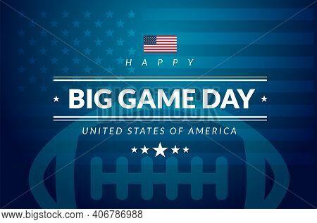 American Football Championship Big Game Sunday Card - Usa Flag, American Football Ball, Stars And St